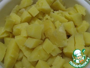 1. Boil potatoes in salted water until tender. To drain the water. Cool potatoes and cut it into cubes.