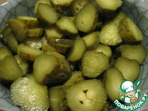 3. Pickled cucumbers cut into small pieces (I had pickles, so I cut up the slices).