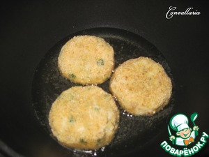 Spread on a heated pan with vegetable oil.  Fry patties on one side for 5-7 minutes on medium heat.