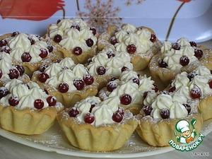 Выложить готовые пирожные на блюдо и посыпать сахарной пудрой.