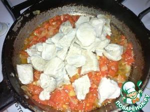 To fried onion add meat, salt, pepper, turmeric and stir.