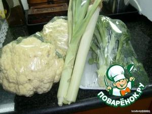 Из продуктов ДЛЯ НАЧИНКИ:   400 гр цветной капусты   400 гр брокколи   300 гр ветчины   соль, перец...