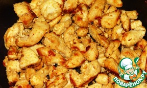 Slice the chicken breast cubes and fry until it will turn brown, season with salt and add favorite seasonings, salad is only good,