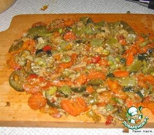 Тушеные овощи порезать помельче