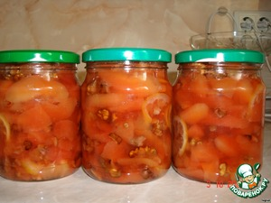 Lemon cut into half slices and add to the jam for 3-5 minutes before end of cooking. Put into jars and close.  I take instead of water remaining from blanching the decoction of quince – just 2 cups.  It turns out three bottles of 0.5 liters.