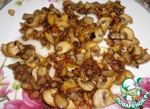While the meat is marinating, fry the mushrooms with onions.