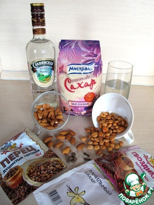 Necessary ingredients for homemade liqueur.
