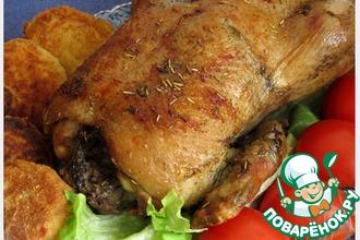 Рецепт: Рождественская утка с грибами и орехами