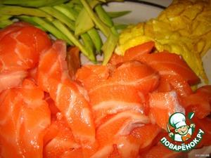 Авокадо чистим и тоже режем полосочками.   Взбиваем яйца и на сковороде с небольшим кол. масла жарим тоненькие блинчики.