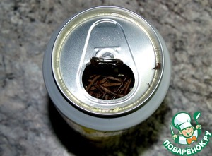 Opening a beer can, a couple of SIPS to orbitotomy    garlic and rosemary chop, throw in a jar of beer