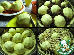 Spread apples on the dough, the spaces between them fill with raisins and nuts,