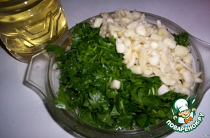 - finely chop herbs and garlic