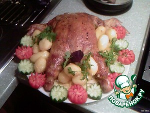 And send in a preheated 180 degree oven for 20-25 minutes.  Get garnishes vegetables and  Bon appetit