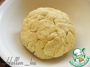 Mash until receipt of crumbs. Make in the middle deepening.  Take the milk (cold) and dissolve in it the salt. Gradually pour milk into flour mixture. Knead the dough thoroughly in a homogeneous mass.  Send the dough in the fridge for an hour or two.