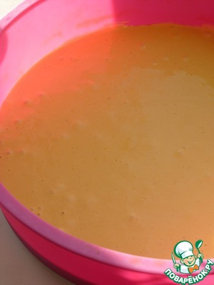 Pour the batter into the form and leveled. Bake until Golden brown at 180. Ready cake remove from the pan and allow to cool.