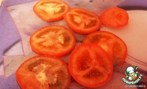 Step 5. Cut the tomatoes.   Tomatoes cut slices.