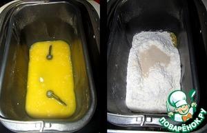 Масло растопила в молоке на плите, потом остудила до теплого и вылила в чашу ХП.   Добавила муку и сахар, сверху насыпала дрожжи.   Режим - дрожжевое тесто.