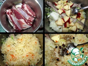 Washed the ribs are put in the pot, fill with water to the top level of the ribs, sprinkle with salt and cook for 30 minutes after boiling.   If the cabbage is very sour, rinse, squeeze and spread on ribs.  The next layer, put coarsely chopped onions, apples.  Throw juniper berries and caraway.  Cover with a lid and stew until ready - there is almost no liquid and the meat should easily separate from the bones.