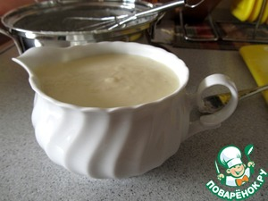 The sauce is ready pour into a gravy boat for serving.