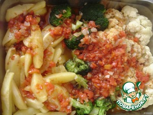 Mix all ingredients for sauce. Pour over the vegetables and bake in the oven 180 C for 15-20 minutes.  Bon appetit!