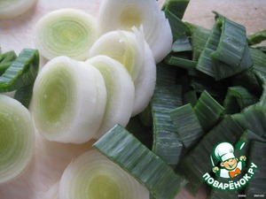 Leeks cut into slices and add to potatoes with beans.