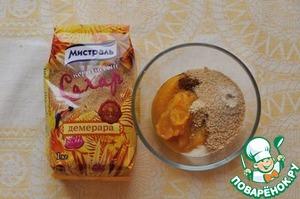 "Stuffing ""Pumpkin pie""  Mix the pumpkin puree with the 1/3 Cup. brown sugar, 1 tsp flour, 1/4 tsp salt, 1/2 tsp cinnamon, 1/4 tsp ginger and a pinch of cloves."