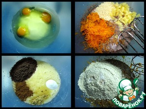 Beat eggs with sugar and oil  add spices, cocoa, salt, vanilla sugar.  Then add grated pumpkin, walnuts, pineapple and juice,  flour with baking powder and soda.  Mix it all together.