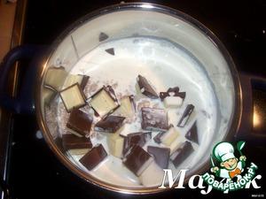В кастрюлю высыпать поломанную в мелкую крошку халву.   Сверху поломанный на кусочки шоколад.   Залить всё это сливками и поставить на слабый огонь.