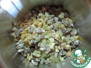 Raisins and candied fruit, mix with a small amount of flour.