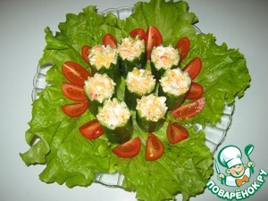 Filled candle-cucumber salad. Better to do it just before serving so that the cucumbers are not soaked.