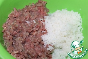 Scrollable meat and boil until soft rice.