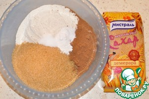 Meanwhile, mix the flour with the cocoa, 2 cups brown sugar, baking powder, baking soda and salt.