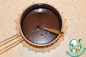 Remove from heat, add 55 g butter and the chocolate, broken into pieces. Stir until smooth.