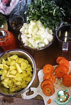 Onion crumble diced potatoes too. Carrot sticks.