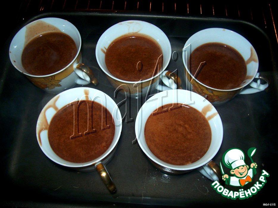 Шоколадный мусс-крем с ликeром и маскарпоне, запечeнный в чашечках