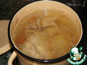 To prepare the soup, you can use water and broth. I cooked the chicken for the salad, added the onion and carrots turned out fabulous broth.