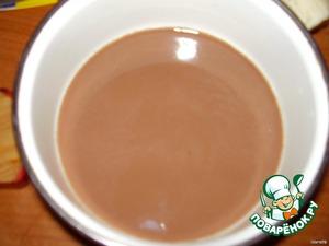 Замочите желатин, согласно инструкции на упаковке (1 ложку). Разбухший желатин нагрейте и залейте молоком, йогуртом или сливками. Я сегодня взяла шоколадный коктейль.