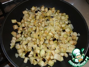 B a pan pour olive oil and sauté the onions and garlic with eggplant,