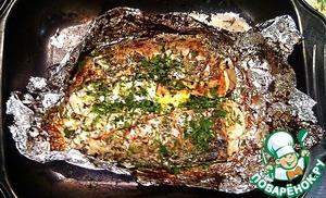 Рецепт Скумбрия с грибами и сыром, запечённая в духовке