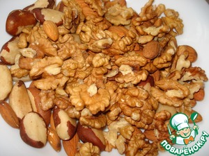 We need 2 cups of nuts, I had 1 Cup of walnuts and half a Cup of almonds and Brazil nuts.