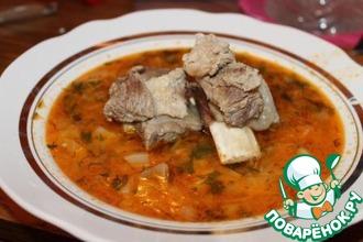 Рецепт: Суп на говяжьих ребрышках
