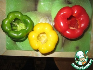 Cut out the core of the peppers.