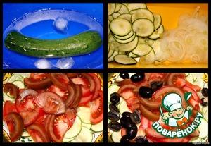 Часа за 3 до приготовления салата положить цуккини в воду со льдом и поставить в холодильник.   Готовим салат: цуккини режем очень тонкими кругляшами (лучше на терке),   на той же терке режем лук тонкими кольцами, добавляем к цуккини,   помидоры режем ломтиками, а оливки - на половинки, добавляем в салат