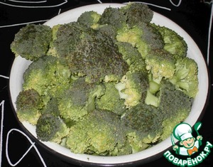 Broccoli divided into small florets, stems cut into small pieces.