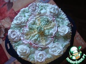 Теперь украсить торт по своему усмотрению.      Можно украсить любым другим кремом, который нравится вам!