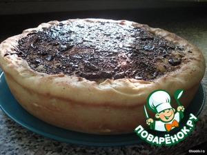Bake for half an hour at 180°C.  Then get the pie, sprinkle cinnamon and grated chocolate.
