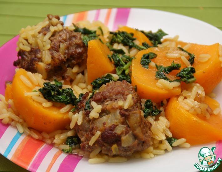 Рецепт: Мясные шарики с рисом и репой