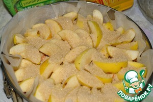 Sprinkle the apples with one Cup of sugar.  Put in a preheated 200 degree oven.