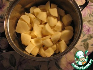 Cut into smaller pieces (so it to cook faster) and put to boil.