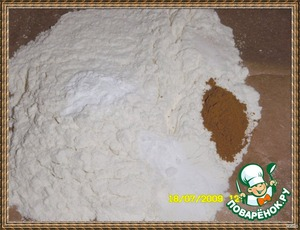 Mix 75g flour + 1/2 tsp baking powder + 1/2 tsp baking soda + 1/2 tsp ground cinnamon + pinch of salt